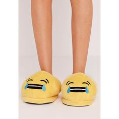 Missguided Laughing Face Emoji Slippers ($9) ❤ liked on Polyvore featuring shoes, slippers and yellow