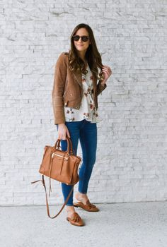 Backless Tassel Loafer. Cognac loafers outfit. Brown leather mules. Floral top and denim outfit. Regan Satchel. Spring style. Spring shoes. Brown suede jacket and floral.
