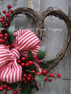 Valentine Wreath Heart Wreath Designer Wreath by NewEnglandWreath
