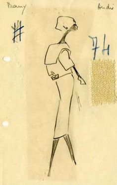 BalenciagaAteliersketchPremierdatelierDenisSummer1951