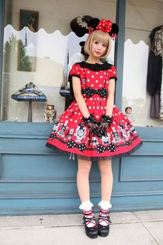 Definitely one of the best ways to incorporate your love of Disney with lolita very cute! Minnie would be proud!   Lolita/Mori/Fairy Kei Fashion   Pinterest