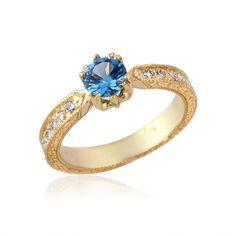 Lovely Blue Aqua Marine and Diamond 14k Gold Engagement Ring