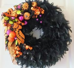 Fall  Halloween Wreath Black Feather Wreath by PJCreativeWreaths, $62.50