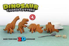 3D dinosaur cookie cutters. @Amanda Jollota, you need this..