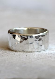 Hammered sterling silver band from Praxis Jewelry.