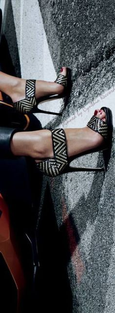 Jimmy Choo ~ Spring Leather Sandals, B/W 2015 via cynthia reccord