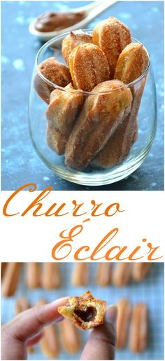 BAKED CHURRO ÉCLAIRS W/ CHOCOLATE CUSTARD FILLING!! Oh how absolutely delicious!! Churro filled with a gooey Chocolate Custard & rolled in cinnamon sugar!!! Gorgeously crispy on the outside, and deliciously molten inside!!!! YUM!