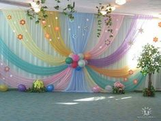 Beautiful Curtains Decorations for Birthday Parties - ArtCraftVila Diy Backdrop, Backdrop Decorations, Balloon Decorations, Baby Shower Decorations, Spring Decorations, Wedding Stage Decorations, Birthday Party Decorations, Birthday Parties, Birthday Backdrop