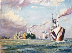 A Convoy of the First World War - The National Maritime Museum Collection Seascape Paintings, Your Paintings, Ship Paintings, Watercolor Paintings, Ww1 Art, Dazzle Camouflage, Wall Art Wallpaper, Maritime Museum, Art Uk