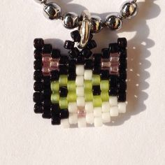 Beaded Cat Necklace ~ Kitty Choker ~ Black and White Cat ~ Bead Jewellery…
