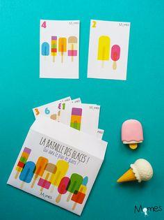 Ce jeu de bataille des nombres est très ludique avec ces petites glaces colorées ! Qui a le plus de glaces sur sa carte ? Et qui aura le plus de glaces à la fin de la partie ? Il peut être utiliser en classe ou à la maison.