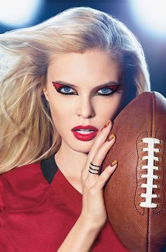 ARIZONA CARDINALS fans, get your Covergirl #GAMEFACE on! (Get the Look at covergirl.com/NFL: Flamed Out Shadow Pencil - Gold Flame, Flamed Out Shadow Pot - Red Hot, Liquiline Blast Eyeliner - Black Fire, Outlast Stay Brilliant Nail Gloss - Black Diamond, Forever Festive, Goldilocks)
