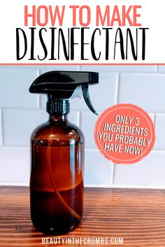 DIY Lysol Recipe (Natural) Homemade Disinfecting Spray Learn how to make this DIY disinfecting spray that is all natural, non toxic, cheap, and works like Lysol. This spray uses essential oils and powerful ingredients to disinfect and sanitize. Homemade Cleaning Supplies, Diy Home Cleaning, Household Cleaning Tips, Cleaning Recipes, House Cleaning Tips, Cleaning Hacks, Cleaning Wood, Diy Hacks, Tips And Tricks