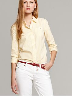 Hilfiger yellow striped oxford shirt!