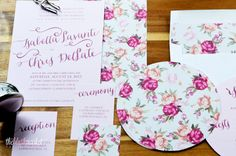 Wedding Invitation Romantic Vintage Garden with Round RSVP Card and Matching Envelope Liner (DEPOSIT)
