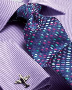 Blue silk luxury multi diamond geometric tie                                                                                                                                                      More