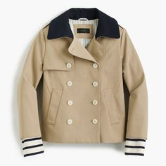 J.Crew Womens Cropped Trench Coat With Detachable Striped Cuffs (