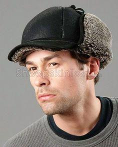 b3e23afd957 Frosted Black Shearling Sheepskin Hat - Fudd Hat