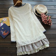 Tree Floral Print Embroidery Cat Long Sleeve Splicing Lace Dress