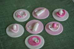 Baby Shower Fondant Bib, Bottle and Pacifier Toppers for Cupcakes, Cookies or Mini-Cakes