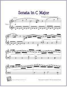 Sonata in C Major (Mozart) | Free Sheet Music for Piano - http://makingmusicfun.net/htm/f_printit_free_printable_sheet_music/sonata-in-c-major-piano.htm