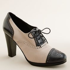 A retro wingtip oxford with a stacked heel and beautiful details is great for skirts, dresses and pants.-Pinned by onto Women's Creative Executive Style from jcrew.com