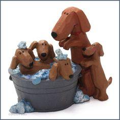 Dachshund Dog and Pups Figurine - Blossom Bucket