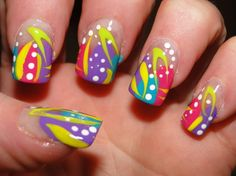 Get firework nails. Try on a black background to make it pop Crazy Nail Art, Crazy Nails, Cool Nail Art, Crazy Art, Get Nails, Love Nails, Pretty Nails, Neon Nail Designs, Crazy Nail Designs