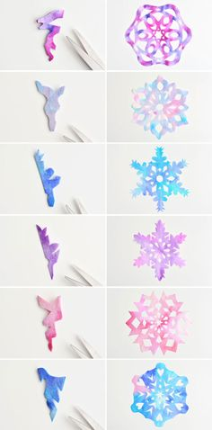 How to Make Coffee Filter Snowflakes Paper Snowflakes Template. These coffee filter snowflakes are so easy to make and they are SO PRETTY! This is such a fun winter craft idea! A great activity for a snow day at home but also simple enough for teachers to Snowflakes For Kids, Diy Christmas Snowflakes, Snowflake Craft, Christmas Paper, Paper Snowflakes Easy, Christmas Decorations For Kids, Homemade Christmas, Winter Christmas, Christmas Ornaments