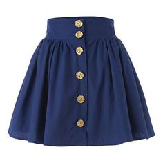 Blue button down high wasted skirt