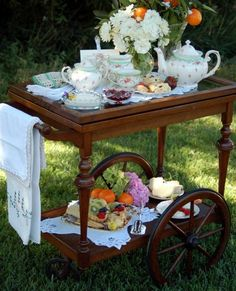 Cart full of tea time goodies.  Tea At The Garden Place... (1) From: Pink Peonies, please visit