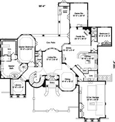 Mediterranean House Plan 5 Bedrooms 5 Bath 5240 Sq Ft Plan 28-101 Simple Floor Plans, Small House Floor Plans, Modern Floor Plans, Farmhouse Floor Plans, Home Design Floor Plans, Open Concept Floor Plans, Best House Plans, Dream House Plans, Luxury Floor Plans