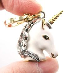 Limited Edition White Unicorn Animal Pendant Necklace in White | dotoly - Jewelry on ArtFire
