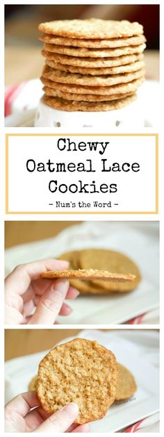 These Chewy Oatmeal Lace Cookies are addicting. Quick and easy to make and raved about by everyone who tries them. Kid friendly and packed with flavor! #dessert #cookie #oatmealcookie #chewyoatmealcookies #lacecookies #flatcookies #thincookies #thin #easy #oldfashioned #kidfriendly #christmas #christmascookie #recipe #numstheword