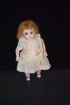 Antique Doll Bisque Miniature Dollhouse Pink Stockings All Bisque Kestner Glass Eyes