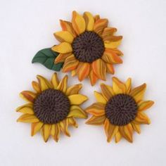 Sunflower polymer clay magnets