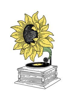 'Singing in the sun' Art Print by merupa Kritzelei Tattoo, Tattoos, Sun Art, Drawing Lessons, Drawing Ideas, Art Drawings Sketches, Unique Drawings, Easy Drawings, Aesthetic Art