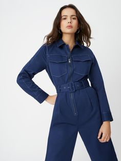 An easy addition to your wardrobe, our Scout Blue Tailored Jumpsuit is the perfect throw-it-on-and-go style. Designed from rich navy cotton twill for a structured feel, oversized pockets and a gunmetal zip add a utility vibe. Tailored Jumpsuit, Navy Jumpsuit, Fashion Editor, Jumpsuits For Women, Capsule Wardrobe, Vogue, Rompers, Shirt Dress, Clothes For Women