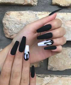 70 Matte Black Coffin Nail Ideas Trend in Cool 2019 coffin nails matte black - Coffin Nails Black Coffin Nails, Black Acrylic Nails, Matte Black Nails, Best Acrylic Nails, Nail Black, Black Manicure, Coffin Acrylic Nails, Long Black Nails, Black Fade