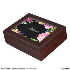 Wild Rose Floral Border Memory Box