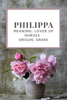 Baby Girl Name: Philippa.   Meaning: Lover of Horses.   Origin: Greek.   Nicknames: Pippa.