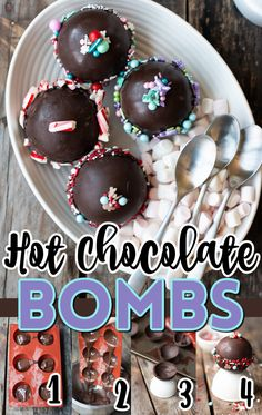 Hot Chocolate Gifts, Christmas Hot Chocolate, Homemade Hot Chocolate, Chocolate Bomb, Hot Chocolate Bars, Hot Chocolate Recipes, Holiday Baking, Christmas Baking, Just Desserts