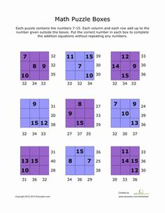 Third Grade Math Worksheets: Addition Math Puzzles #7