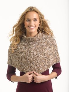 Free Knitting Pattern L32259 Cabled Capelet : Lion Brand Yarn Company