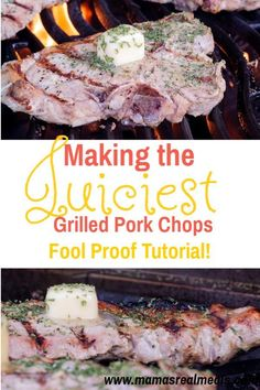 Pork chops are super finicky and they can get dry quickly. But with these tips on how to grill pork chops,you'll get the juiciest grilled pork chops! Pork Rib Recipes, Grilling Recipes, Cooking Recipes, Picnic Recipes, Meat Recipes, Drink Recipes, Delicious Recipes, Dinner Recipes, Tasty