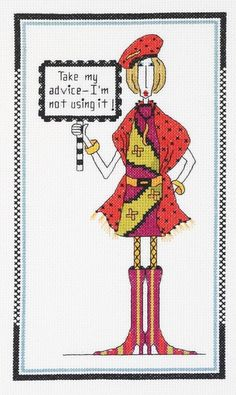 0 point de croix humour - cross stitch humor lady in red, take my advice
