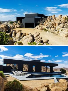 The matte black exterior of this house creates an intriguing modern look that contrasts the rough rugged landscape surrounding it.