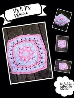 Ravelry: V's and P's Square pattern by Teresa Lynn Crochet Blocks, Crochet Squares, Crochet Stitches Free, Square Quilt, Ravelry, Quilts, Group, Pattern, Design