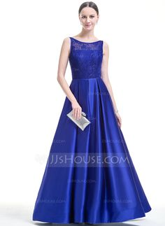 Ball-Gown Scoop Neck Floor-Length Zipper Up Regular Straps Sleeveless No 2016 Other Colors Spring Summer Fall General Plus Satin Lace Prom Dress