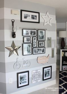 gallery wall in entryway, love the striped wall too!Modern Cool Ways to Paint Walls 2018 Wall decor living room Wallpaper accent wall Wood accent wall Accent walls in living room Wood accent wall bedroom Bathroom accent wall Striped Accent Walls, Striped Walls Horizontal, Striped Hallway, Living Room Designs, Living Room Decor, Photo Deco, Entryway Wall, Foyer Decorating, House Design